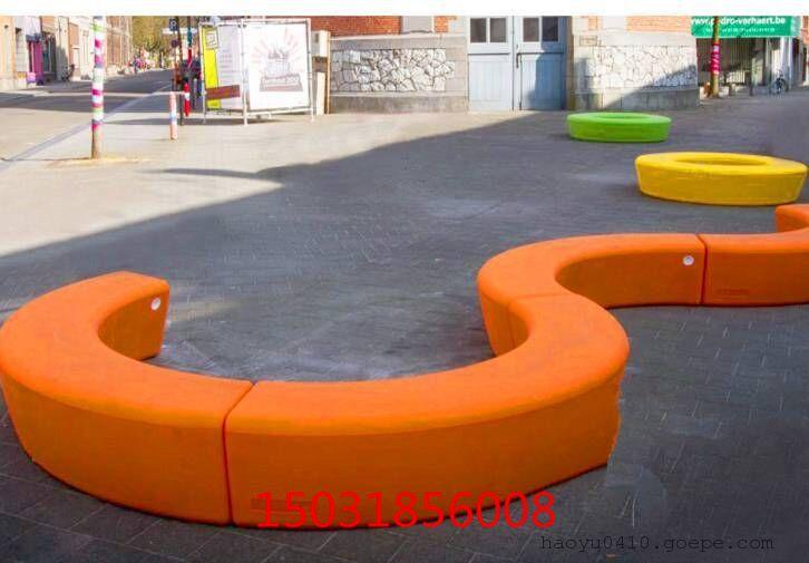 m形弧形座椅坐凳 w形弧形座椅坐凳 异形园林景观座椅定做图片