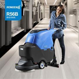 医院学校保洁用电瓶式拖地机,容恩超静音手推式电动洗地机R56B