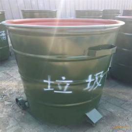 河北绿美供应户外铁质圆形垃圾桶 烤漆铁制环卫垃圾桶