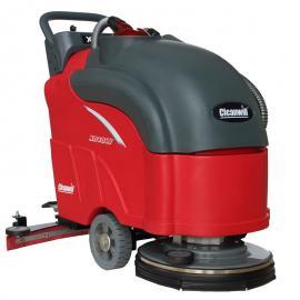 小区地下车库用洗地机拖地机,克力威手推式电瓶洗地吸干清扫机厂
