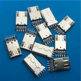 沉板贴片MICRO 5P公头SMT式 贴板USB公头 超薄焊板 前五后五