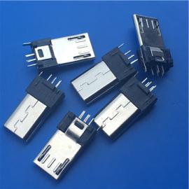 加长插板MICRO 5P公头夹板0.8带地线脚180度立式公头8.6直插