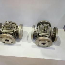 进口德国汉克气动不锈钢四通球阀 气动四通法兰球阀 Q646F