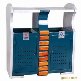 贵州双桶铁质垃圾桶 分类果皮箱【塑木垃圾桶】 生产厂家