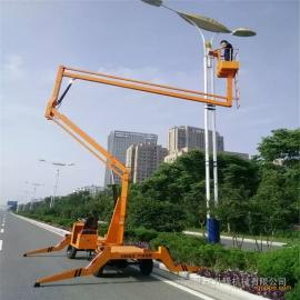 移动四轮曲臂式升降机 8米电动液压升降平台 自行高空作业车