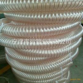 大口径PU钢丝伸缩管聚氨酯钢丝增强管粉尘除尘管