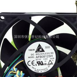 台达DELTA 8025 12V 0.6A AFB0812SH 8CM 4线温控电脑机箱风扇
