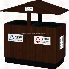环保三分类垃圾桶 带滚轮可推式塑料果皮箱 街道可回收垃圾桶