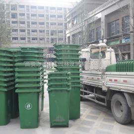 宝鸡带轮子手推塑料垃圾桶 环卫清洁桶 侧面带脚踏小区垃圾箱
