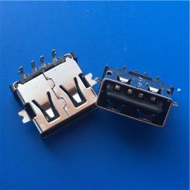 USB正反插4P母座2.0沉板双面插90度插板DIP+SMT直边两脚贴片贴板