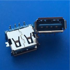 沉板4P正反插USB A母座双面插90度两脚贴板SMT有卷边 蓝色胶芯