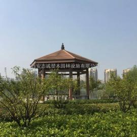 陕西西安塑木凉亭生产厂家 木塑四角亭子 防腐木六角亭供应商