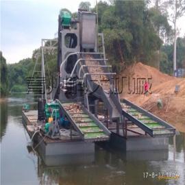 坦桑尼亚选矿淘金船,抽沙小型选沙金船水面采金