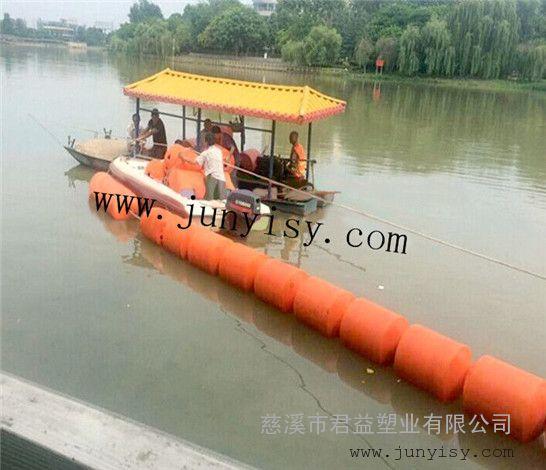 河北水库河道拦污警示划分区域塑料浮筒 直径300*800拦污浮筒