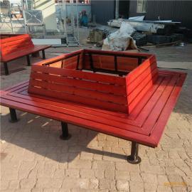 户外围树椅 方形树围椅 休闲组合桌椅 实木公园椅平凳