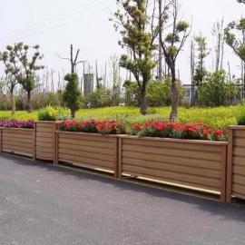 西安志诚塑木供应防腐木花箱 不锈钢花盆 铝合金木纹花箱 木塑