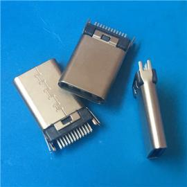 USB快充夹板TYPE-C 3.1公头带固定脚 鱼叉脚24P L=12.0铆合 铆压