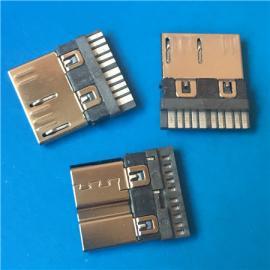 焊线MICRO 3.0公头USB/10P单排焊线式 超薄 迈克 三星手机插头