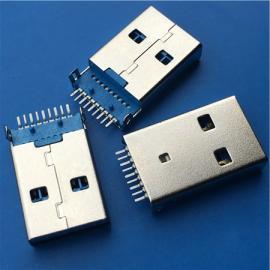 A公3.0 USB 9P贴片公头SMT沉板180度弯脚 贴板18.8有柱 蓝胶