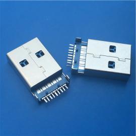 3.0 A公沉板USB 3.0公头9P沉板直脚贴片SMT有柱 蓝色胶芯 兰胶