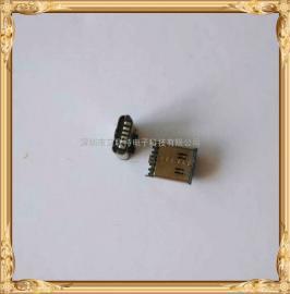TYPE-C母座直立式贴片6P 三脚180度直插带防尘帽