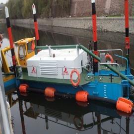 客户订制河道淤泥脱水清淤船施工现场
