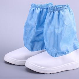 厂家直销防静电中筒靴网格 条纹布无尘净化鞋 工作鞋可定做