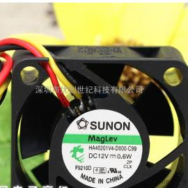 全新SUNON HA40201V4-D000-C99 4020 4cm 12V0.6W超静音散热风扇