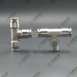 不锈钢气管接头螺纹正三通 PB快速插接头PU PE气动T型三通接头