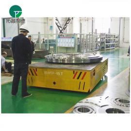无轨电动平车采用包胶轮 配有专项机构可任意转弯运行