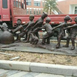 深圳原著雕塑工厂制作玻璃钢仿铜拔萝卜雕塑 公园景观雕塑摆件