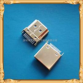 MINI HDMI夹板公头 镀银-镀金外壳