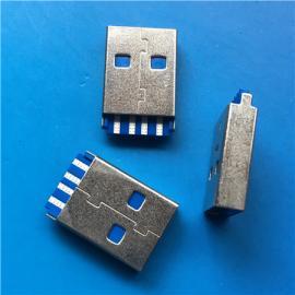 A公3.0焊线式USB短体3.0公头180度焊线 蓝色胶芯双排A TYPE