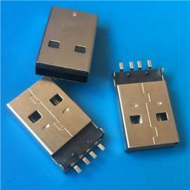 A公反向USB 2.0公头反向贴片SMT 4P胶芯反向 贴板/插板 黑胶