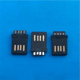 A公�p面插USB 2.0公�^正反插 金手指 全塑8P黑�z/白�z4P