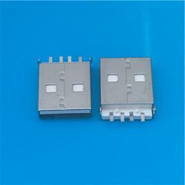USB A公沉板短体式SMT 沉板贴片L=14.2mm公头2.0贴板有柱白胶