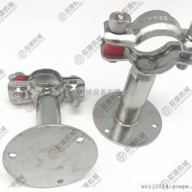 不锈钢管支架 304管支架 带托盘管支架 管夹