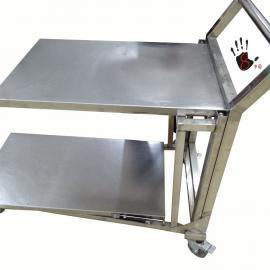 不锈钢双层折叠手推�静音拉货小车定制不锈钢单层双层手推�