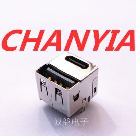 USB母座AF+CF一体式二合一母座整合TYPE C接口诚益电子