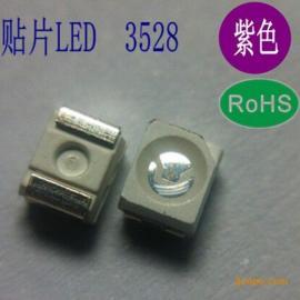 3528紫光贴片395-400nm紫外led灯珠 UV胶水固化0.06W
