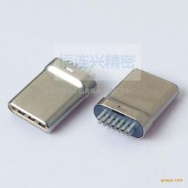 Type-C 14P夹板公头 双排7P拉伸10.3mm插头 无缝带板type-c