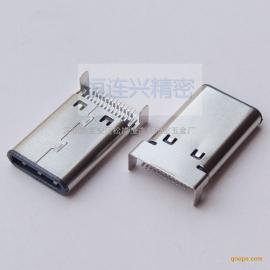 Type-C 沉板公头 双排SMT贴片式 2固定脚90度插板