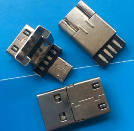 OTG公头焊线式USB掀盖式A公头+MICRO转接头 翻盖式 安卓+A2.0