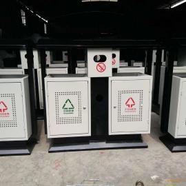 优质钢板垃圾桶 两分类冲孔垃圾桶 青蓝户外果皮箱厂家直销