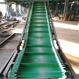 江苏省9米长钢丝绳挡板式皮带输送机 饲料皮带传送机