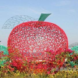东莞原著雕塑厂家纯手工雕刻铁艺镂空苹果雕塑 广场景观雕塑摆件