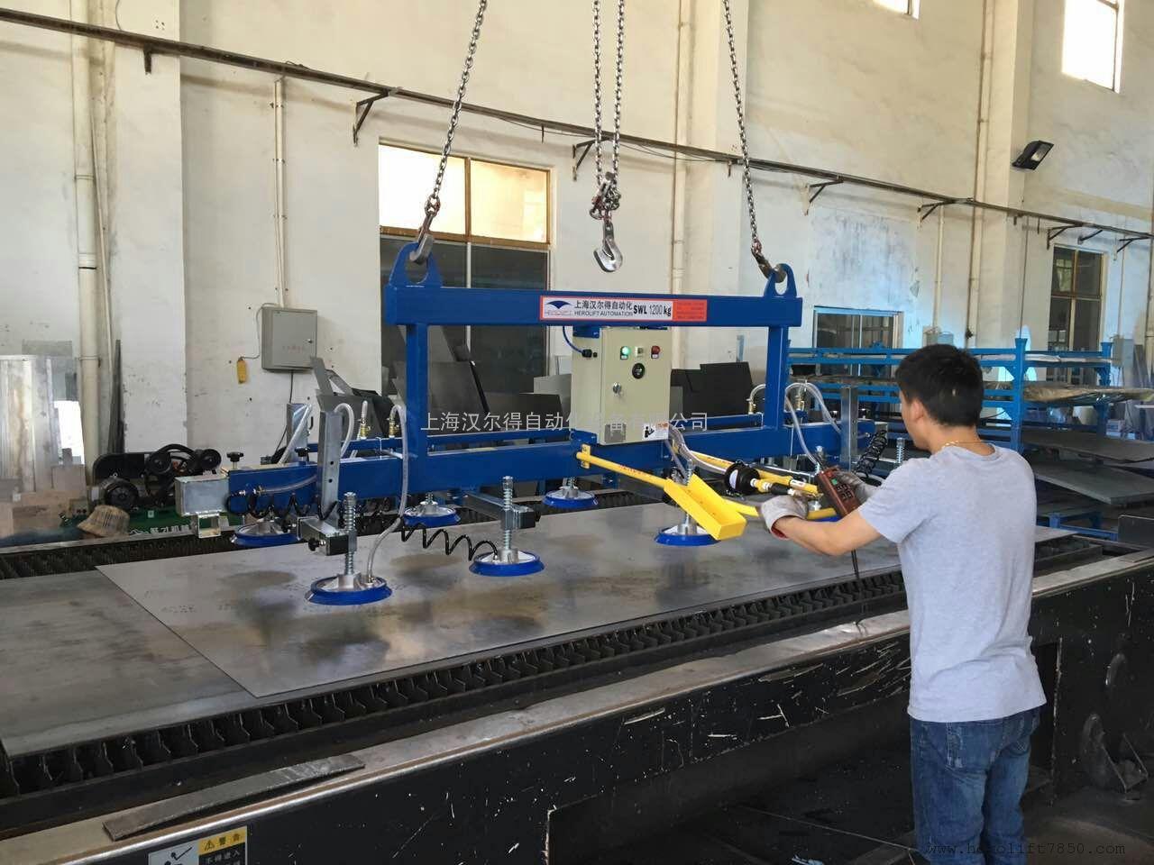 6米激光切割台面配套上料吸盘吊具、伸缩式真空吸吊机