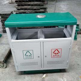 厂家直销双桶分类垃圾桶 钢板垃圾桶 青蓝室外垃圾桶