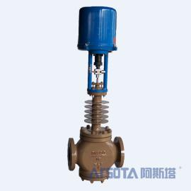 ZRHF电动三通调节阀 电动带散热片套筒调节阀