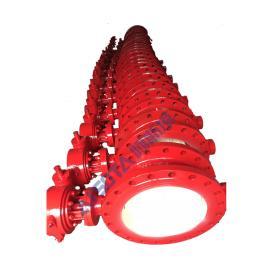 DN500球磨铸铁双向流旋球阀 红色体旋球阀